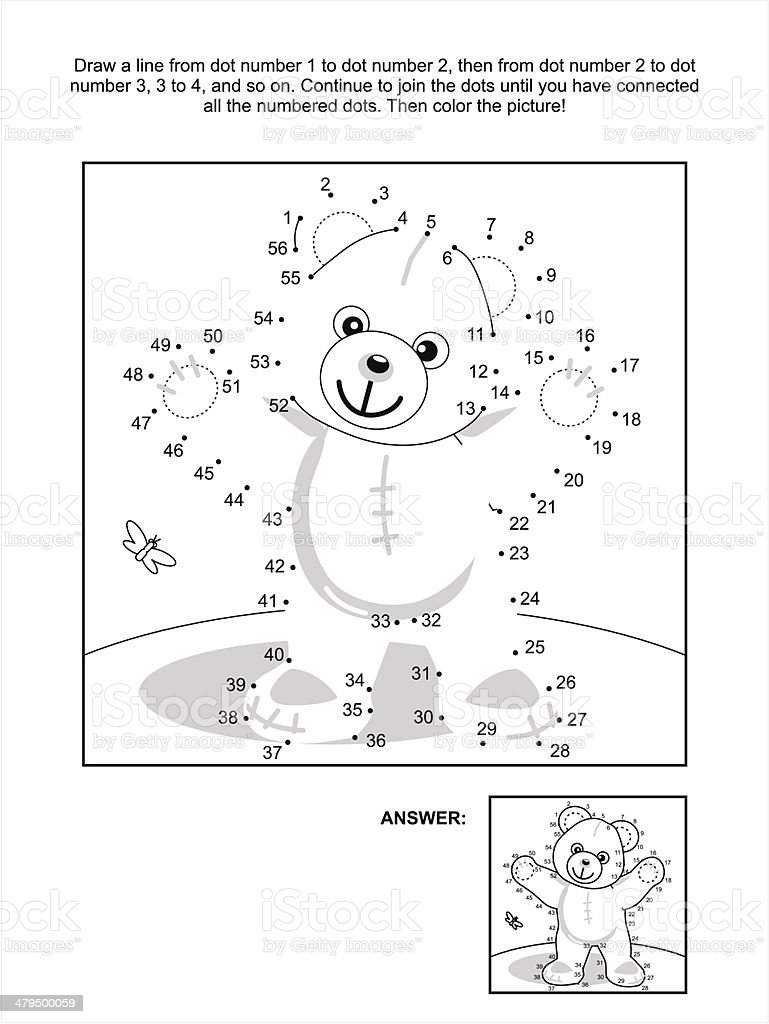 Dot-to-dot and coloring page - teddy bear vector art illustration