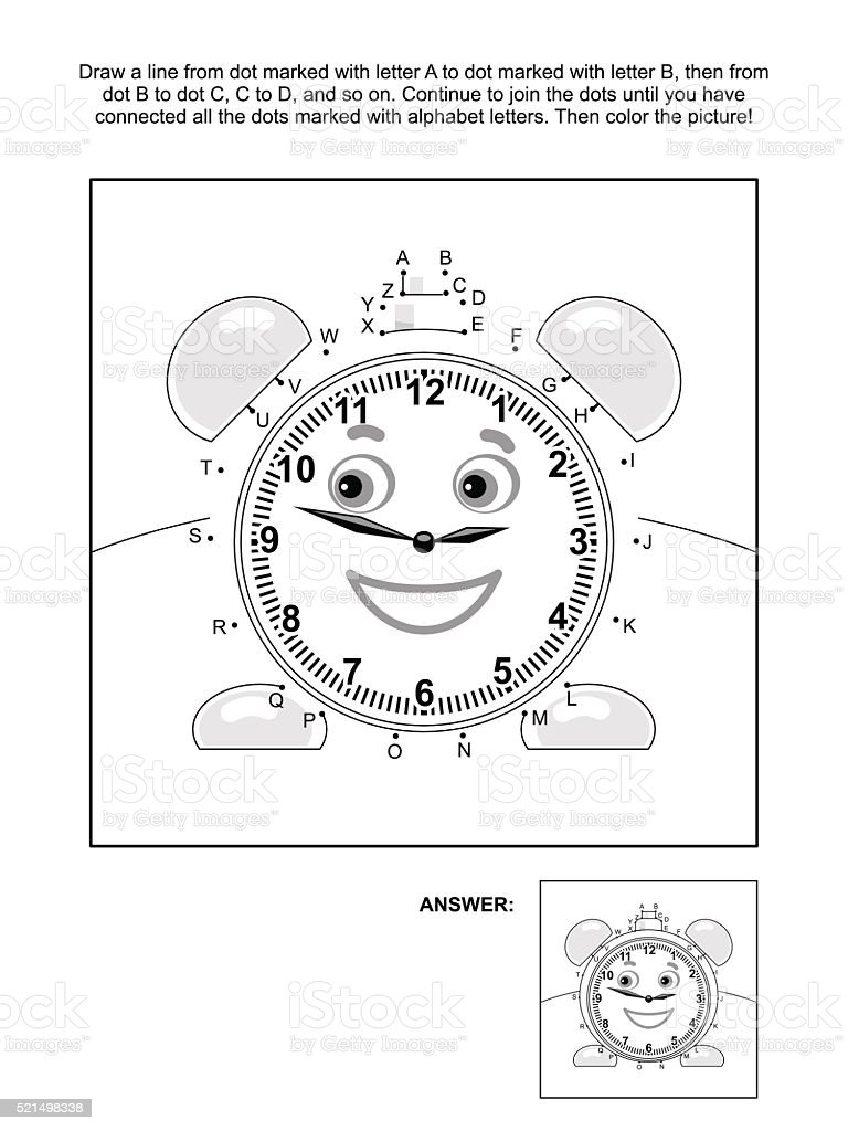 Dot-to-dot and coloring page with alarm clock vector art illustration