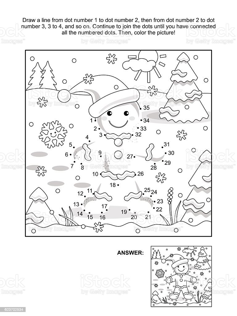 Dot-to-dot and coloring page with ginger man vector art illustration