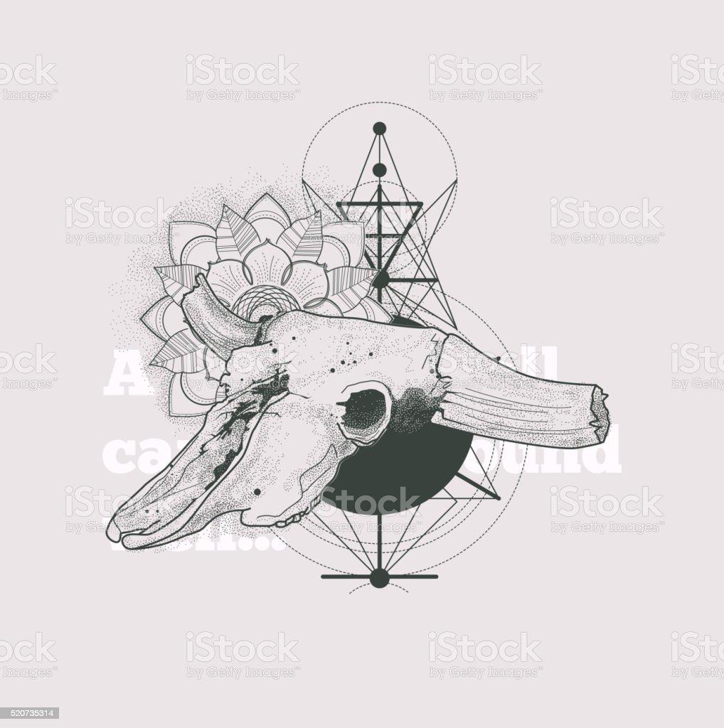 Dotwork animal skull with modern street style attributes vector art illustration