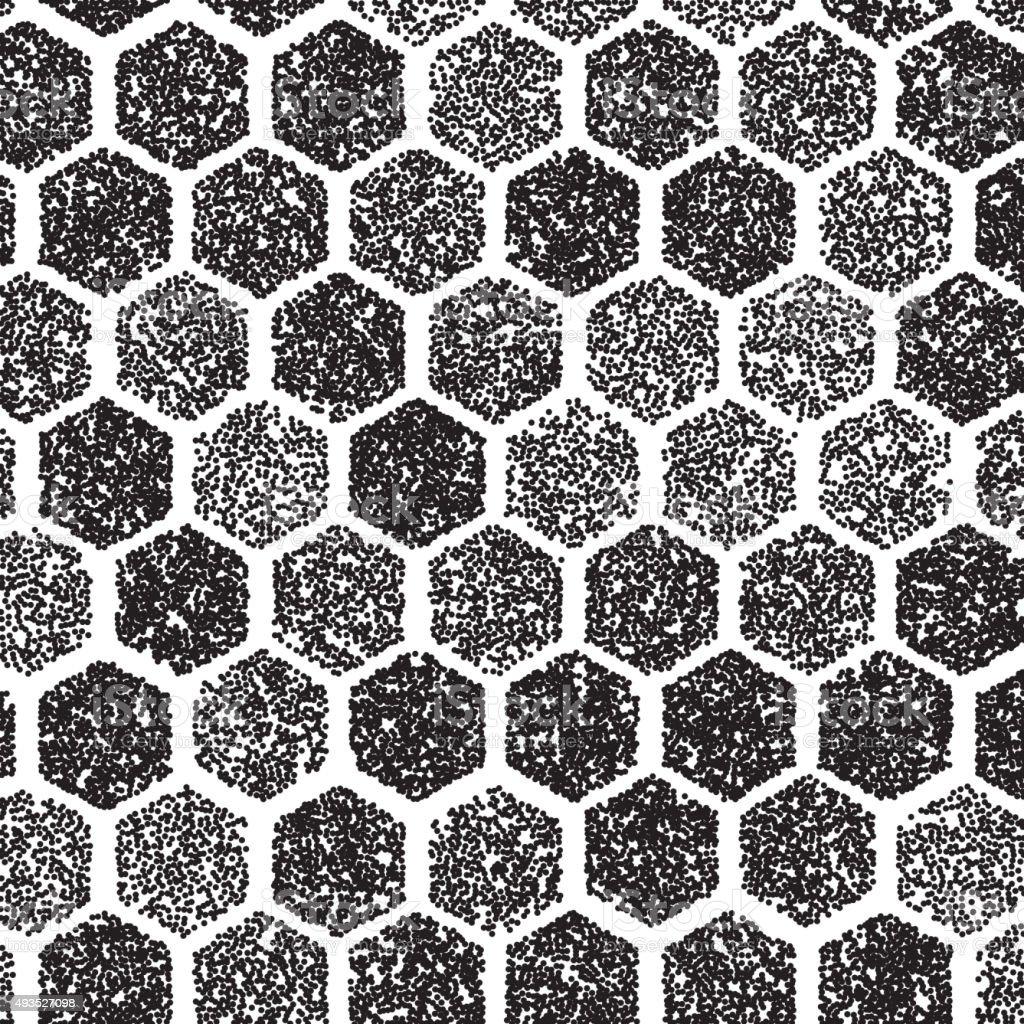 Dotwork Hexagon Vector Pattern. halftone Hexagon Tattoo Style vector art illustration