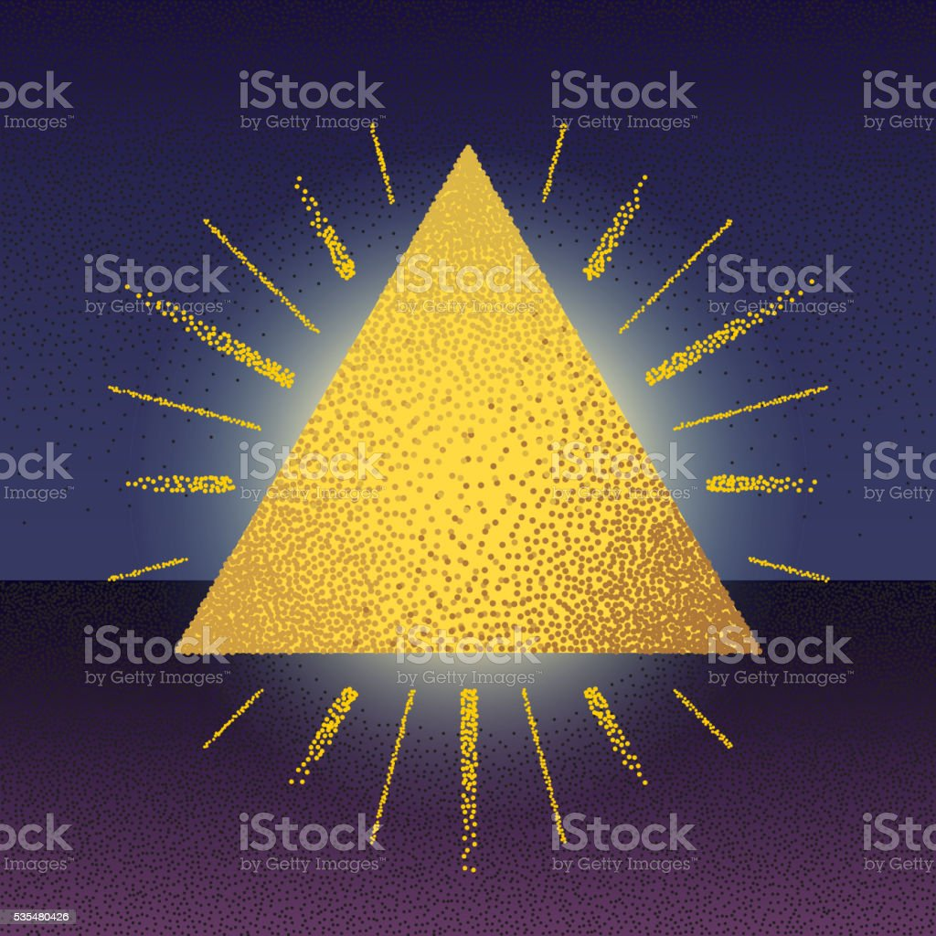 Dotwork raster triangle with rays vector art illustration