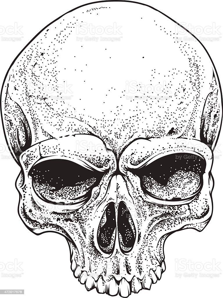 Dotwork Skull vector art illustration