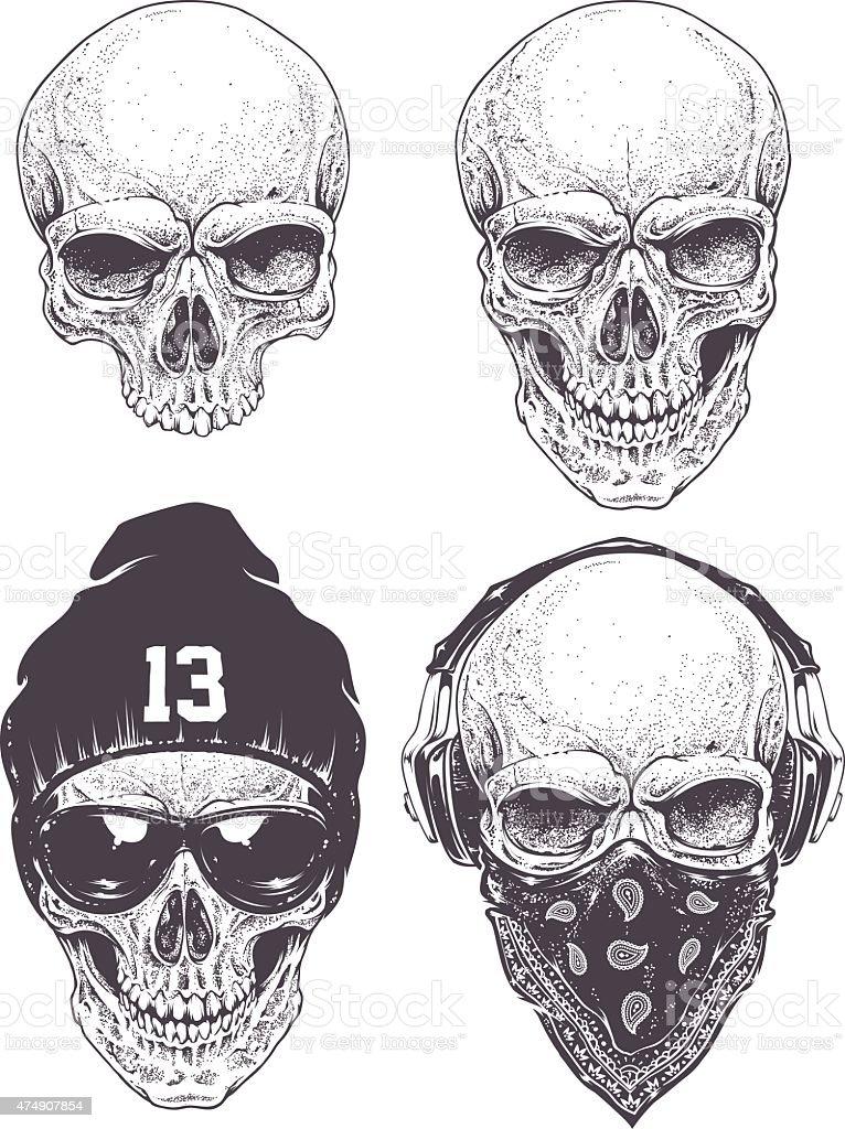 Dotwork Skulls Set vector art illustration