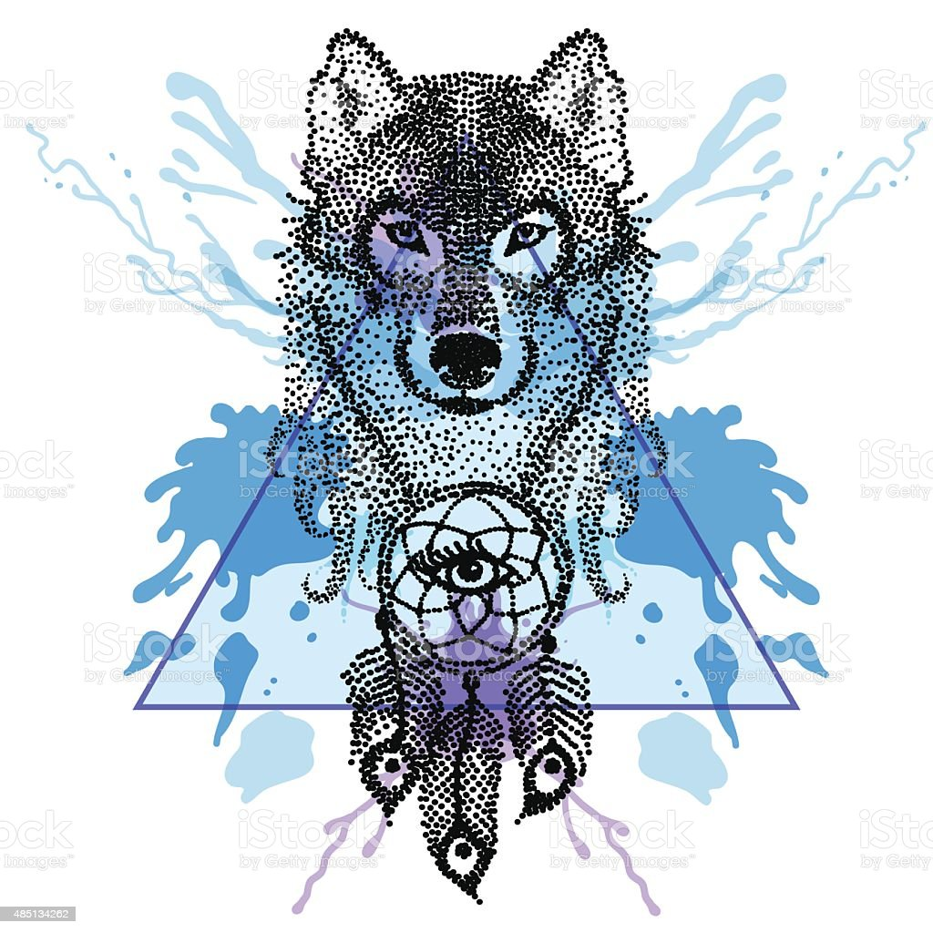 Dotwork tatoo stylized Wolf face with dreamcatcher  in triangle vector art illustration