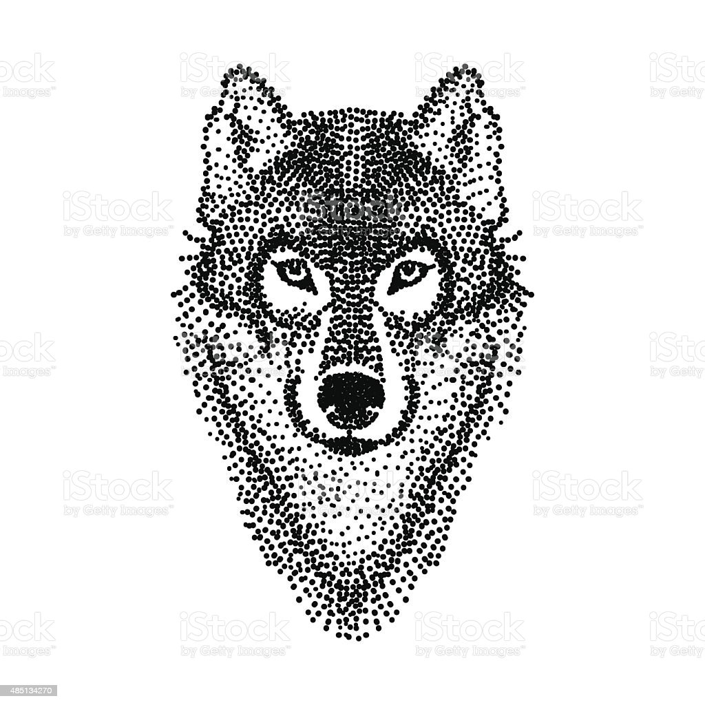 Dotwork tattoo design stylized Wolf face. Hand Drawn doodle vect vector art illustration