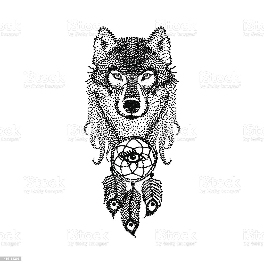 Dotwork tattoo design stylized Wolf face with dream catcher. Han vector art illustration