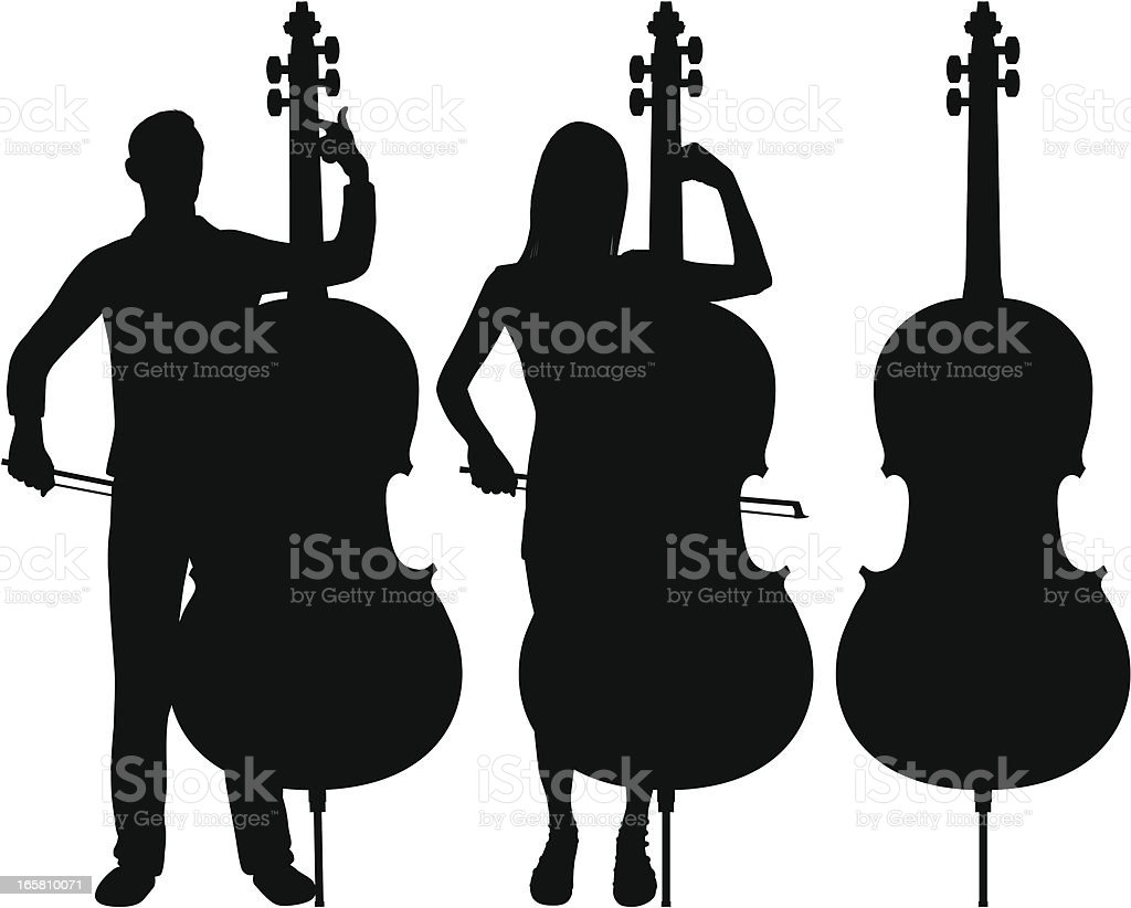 Double Bass vector art illustration