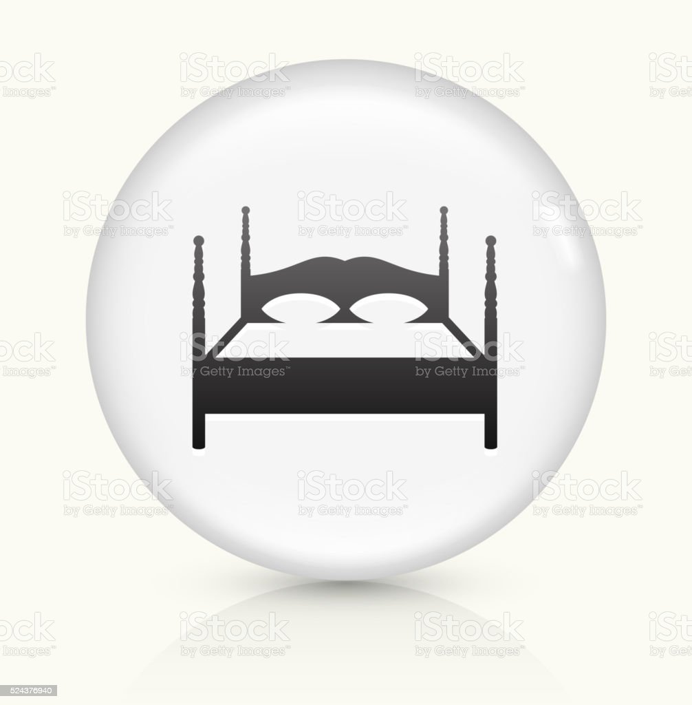 Double Bed icon on white round vector button vector art illustration