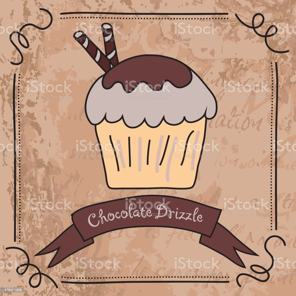 Double Choclate Drizzled Dipped Cupcake On Blotchy Grunge royalty-free stock vector art