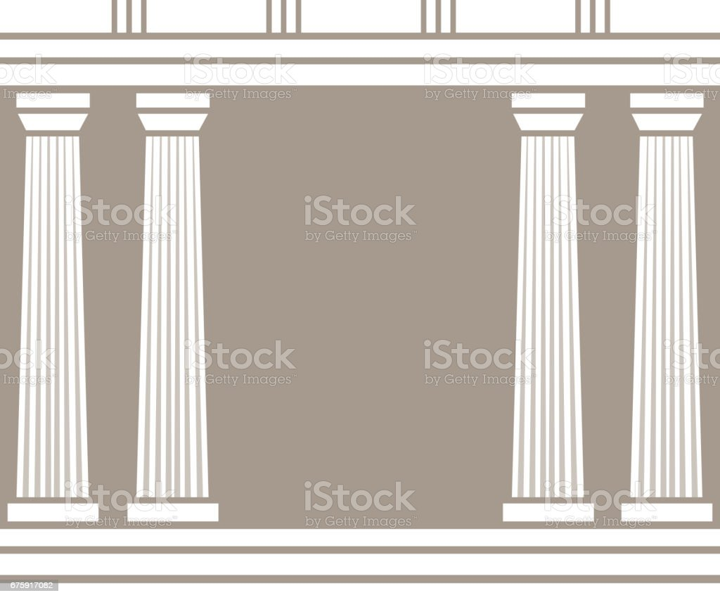 Double classic pillars arc isolated on brown background vector art illustration