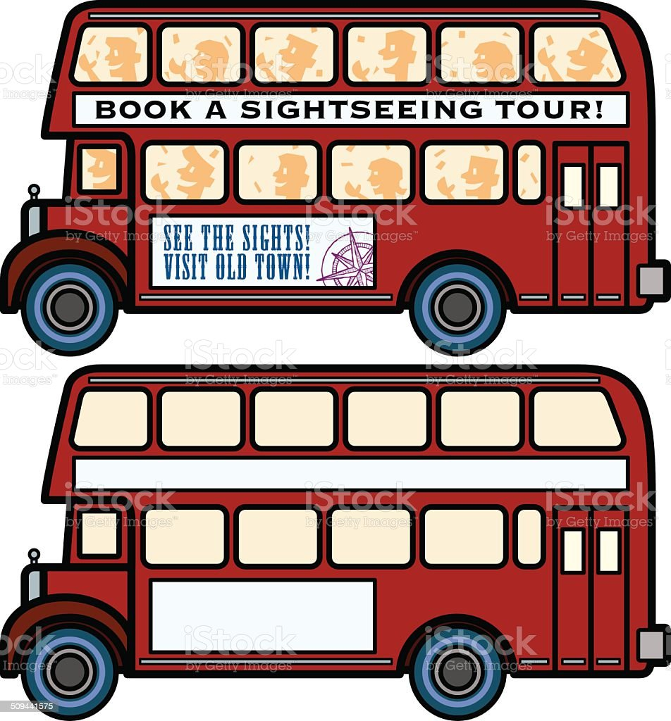 Double Decker Busses vector art illustration