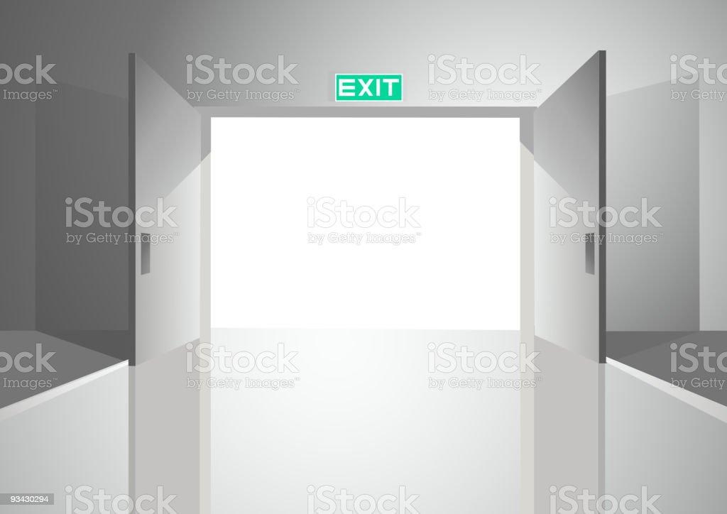 Double Doors Opening vector art illustration