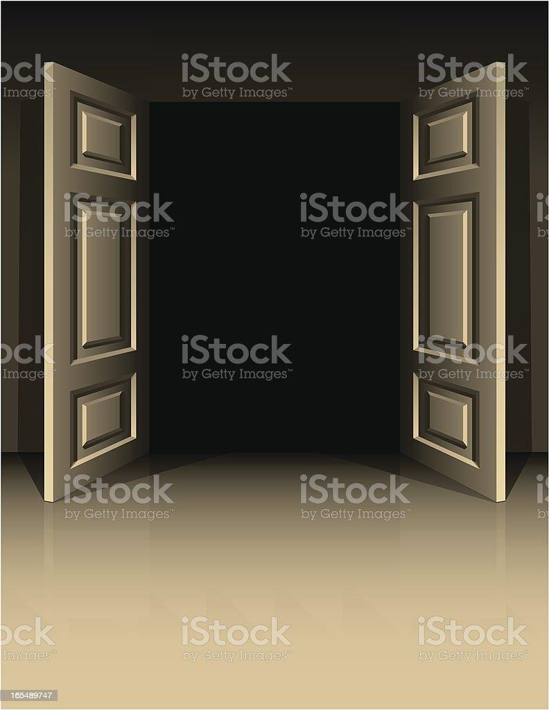 Double doors to dark royalty-free stock vector art