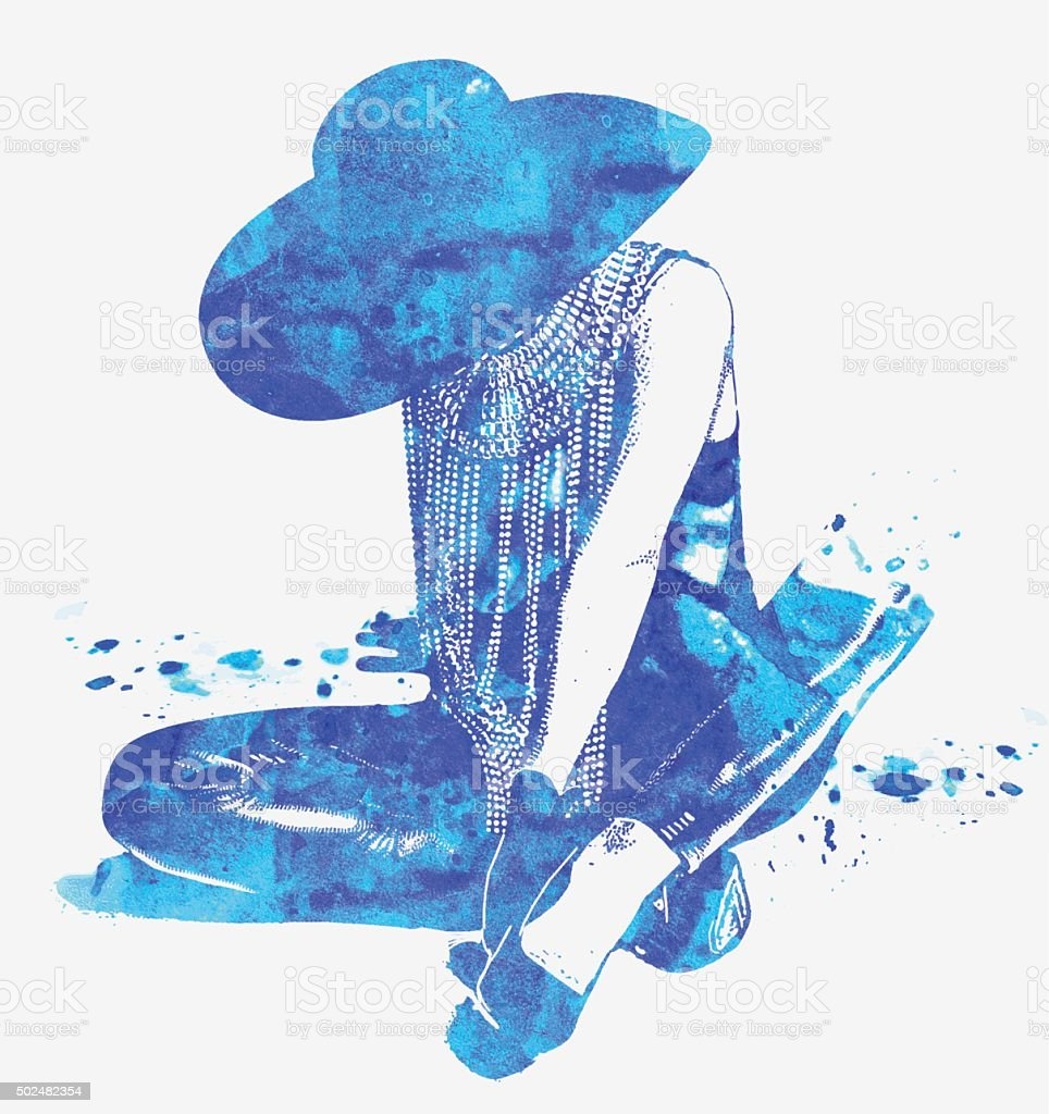 Double Exposure Illustration of Mysterious Woman With The Blues vector art illustration