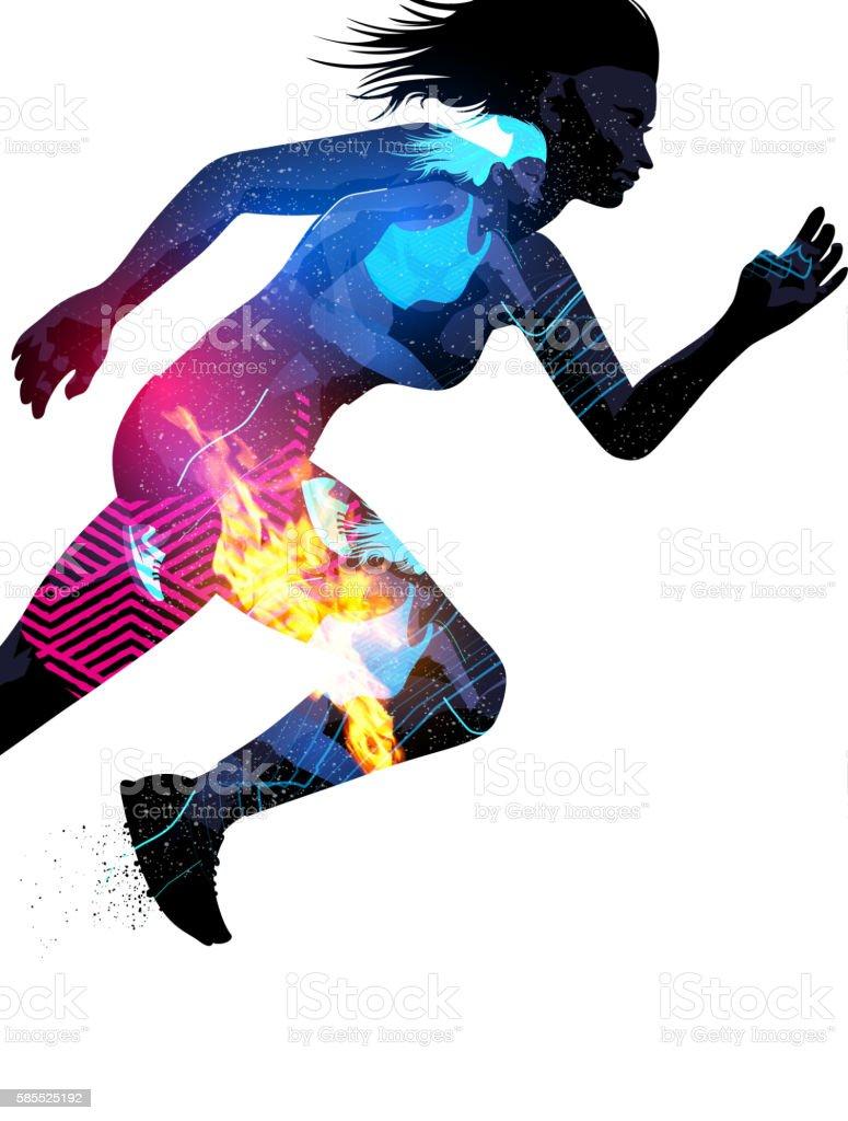 Double Exposure Running Woman vector art illustration
