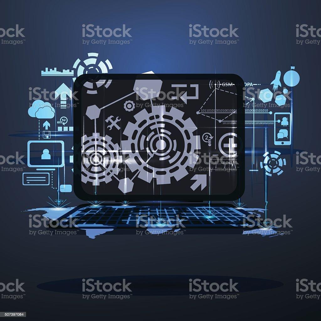 Double exposure technology digital vector art illustration