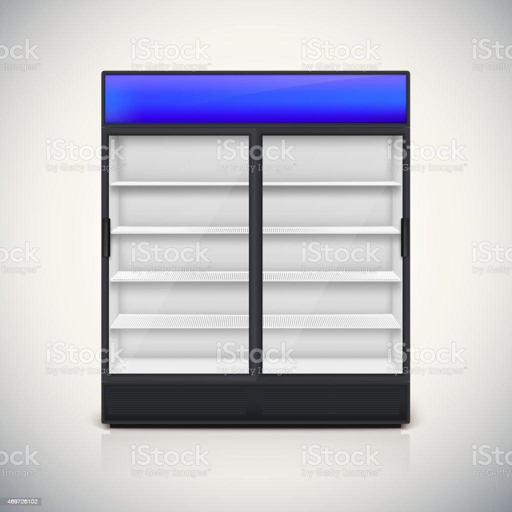 Double fridge with glass door. vector art illustration