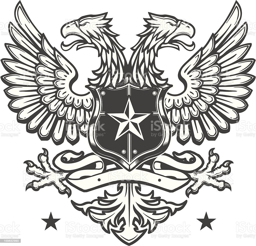 Double Headed Eagle crest on white royalty-free stock vector art