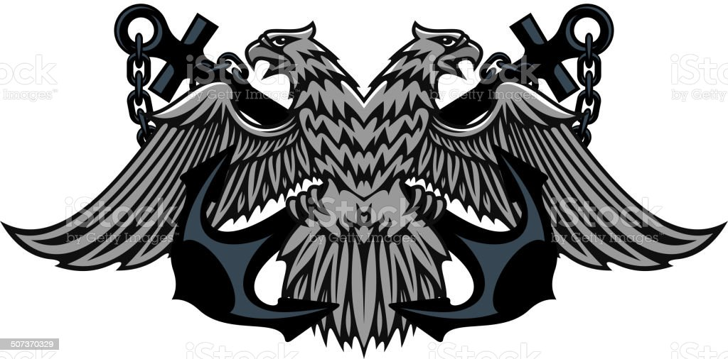 Double headed Imperial eagle on anchors royalty-free stock vector art