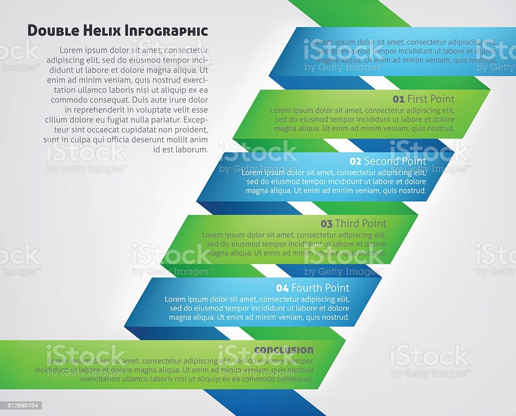 DNA Double Helix Infographic vector art illustration
