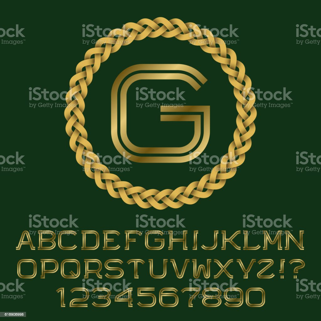 Double line gold letters and numbers with G initial monogram. vector art illustration