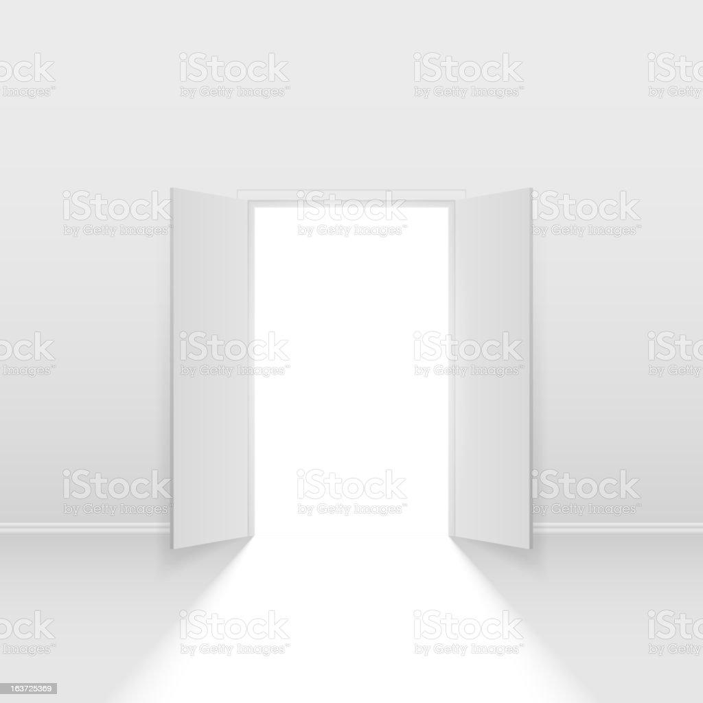Double open door vector art illustration