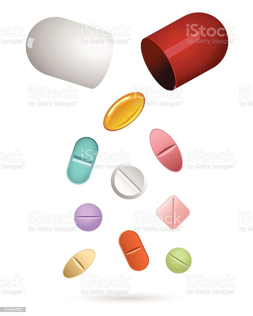 double pills vector art illustration