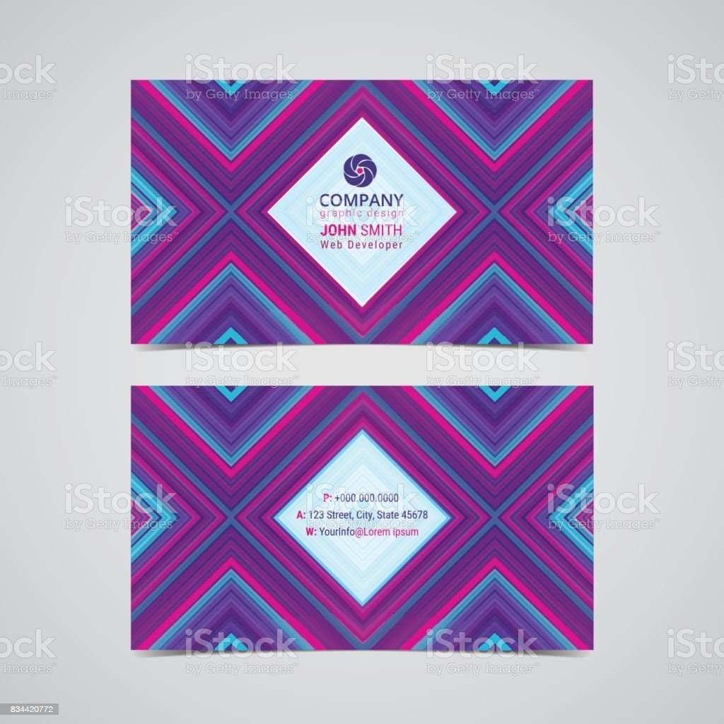 Double sided business card design layout template with geometric pattern background. vector art illustration