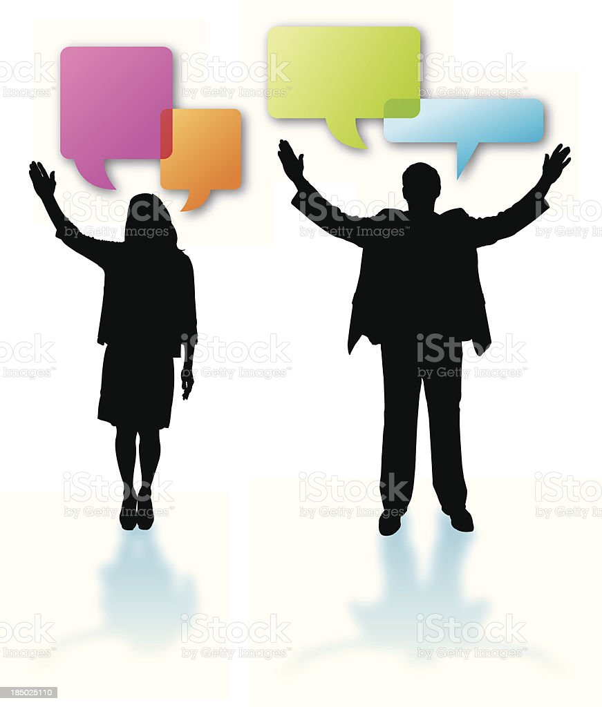 Double Talk Candidates or Public Speakers - Speech Bubbles royalty-free stock vector art