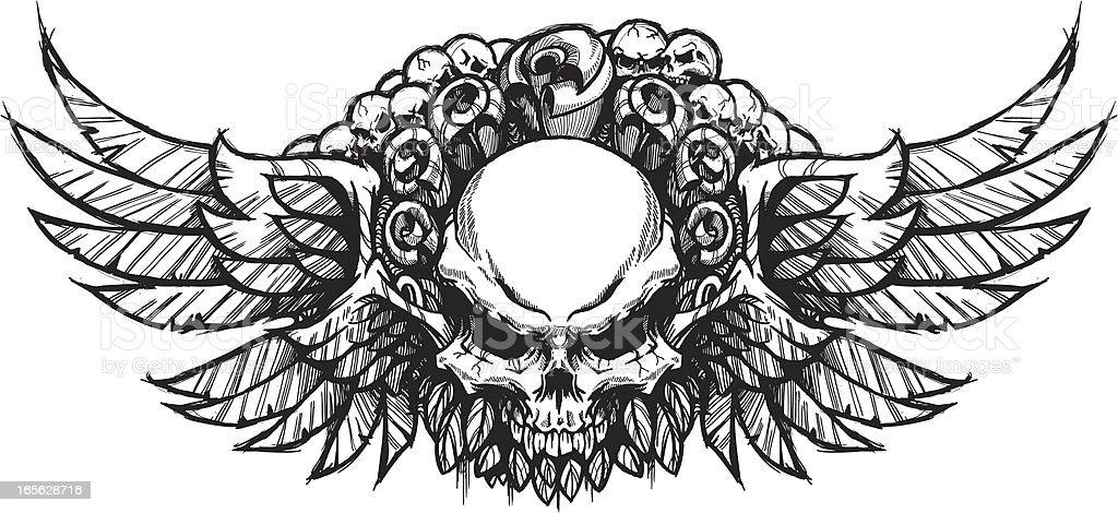 Double Winged Skull & Roses B&W vector art illustration