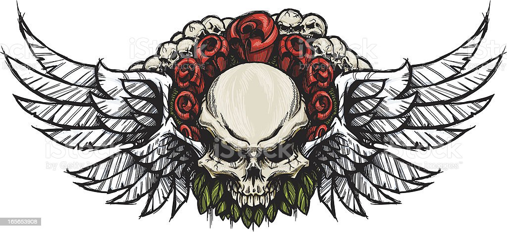 Double Winged Skull & Roses vector art illustration
