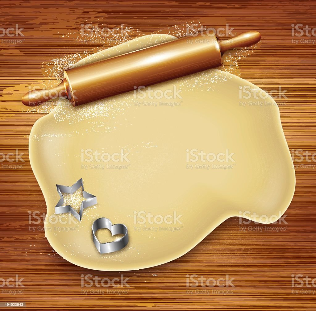 Dough, rolling pin, cookie cutters on the wood. Vector vector art illustration
