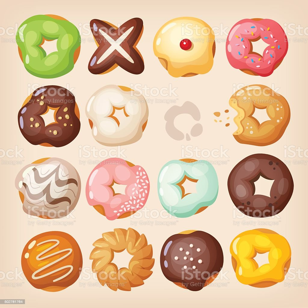 Doughnuts set vector art illustration