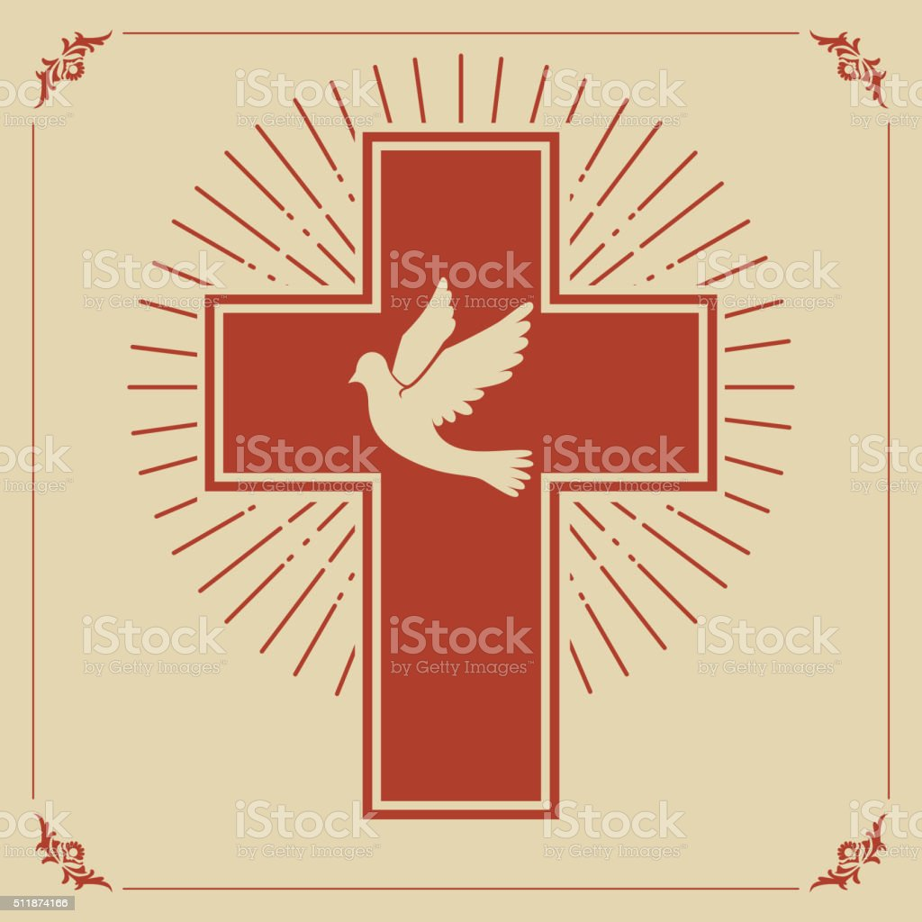 Dove and cross vector art illustration