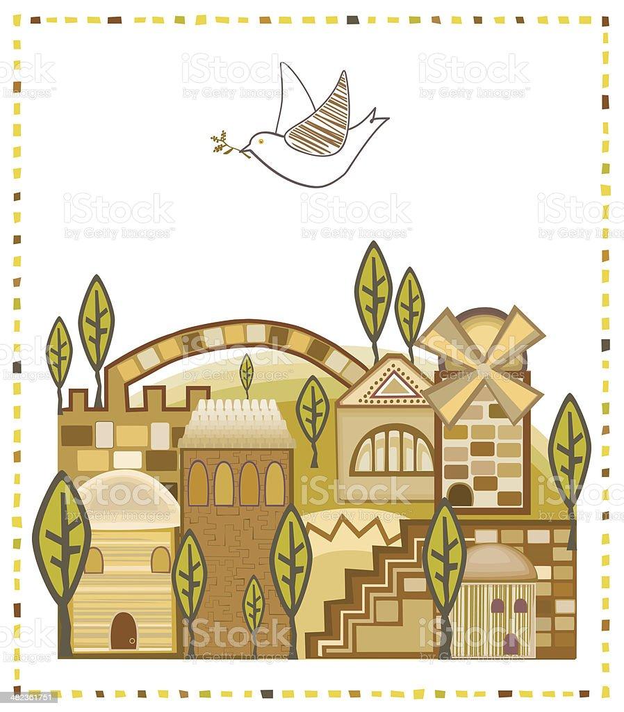 Dove Flying Above Jerusalem royalty-free stock vector art