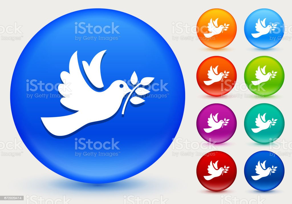 Dove Icon on Shiny Color Circle Buttons vector art illustration