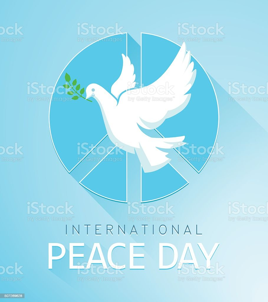 Dove of Peace with olive branch and a peace sign vector art illustration
