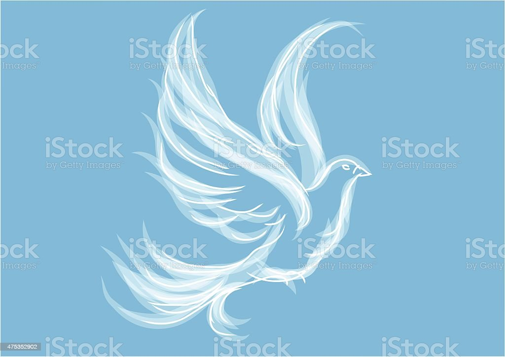 dove on blue vector art illustration