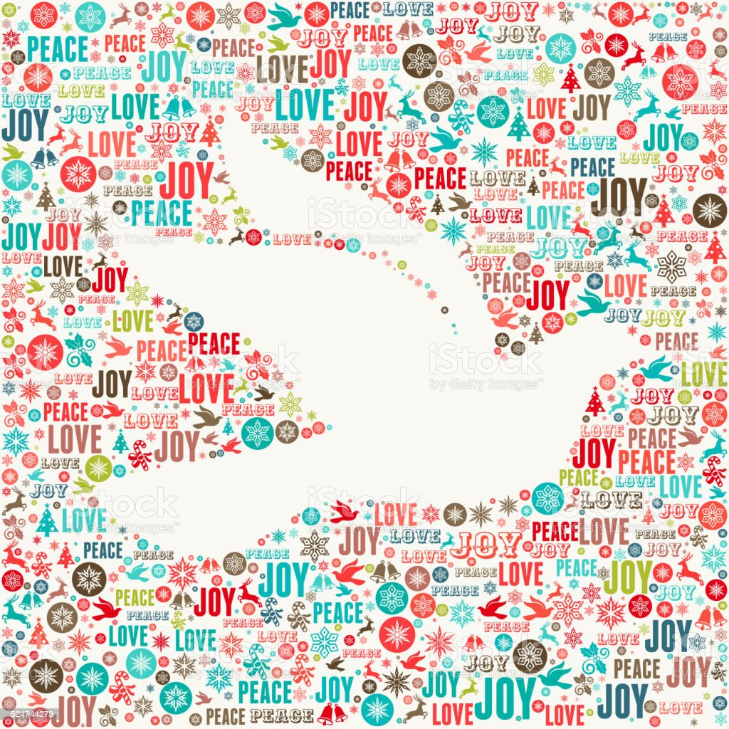 Dove on Holiday Christmas Background Pattern vector art illustration