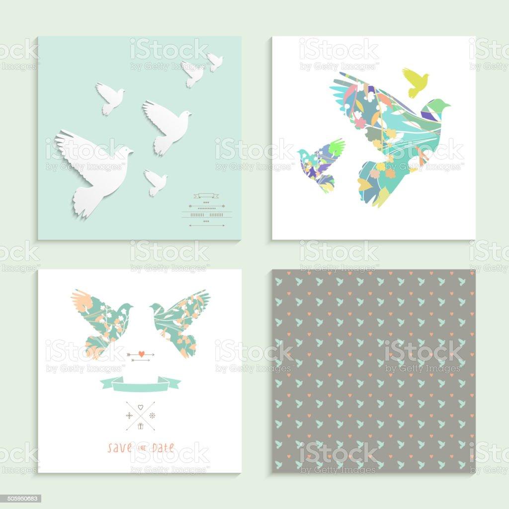 Dove. Set of four cards. Vector illustration. vector art illustration