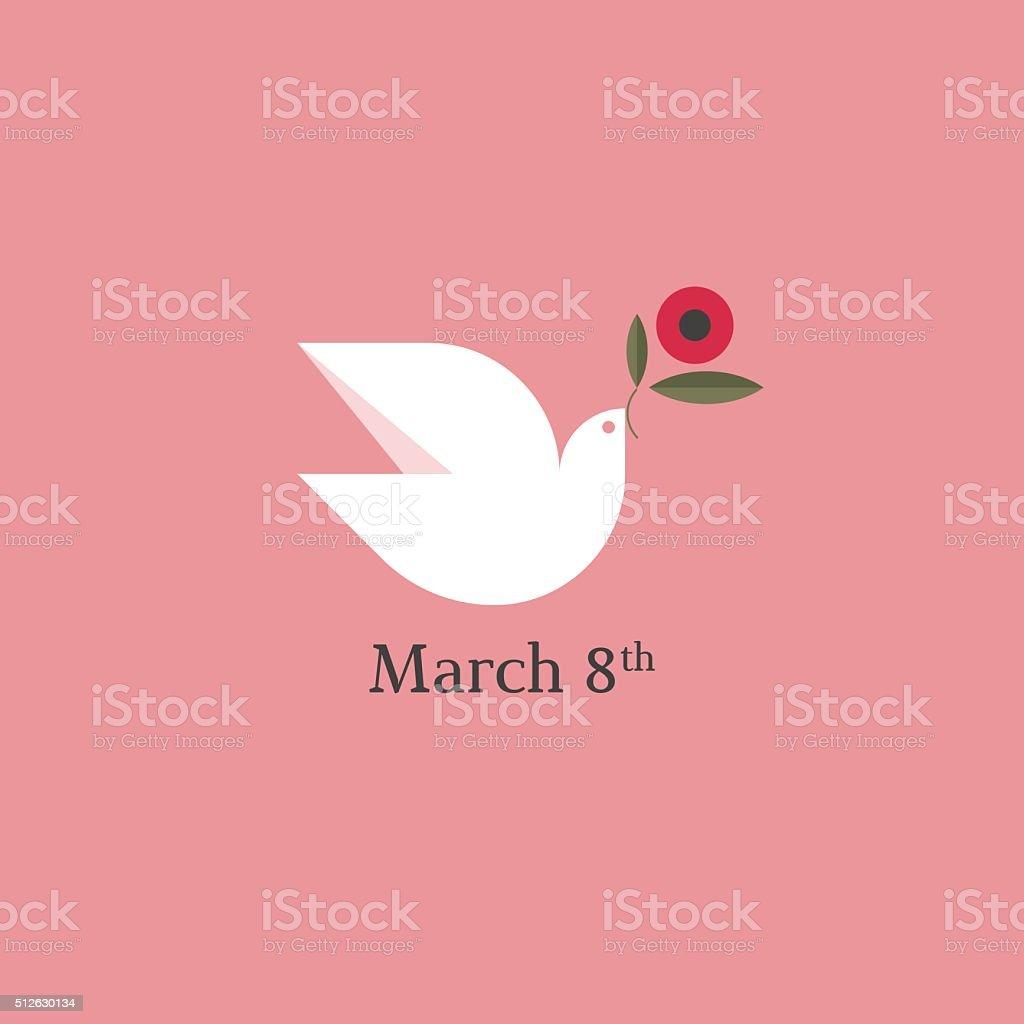 Dove with flower. International Women's Day card vector art illustration