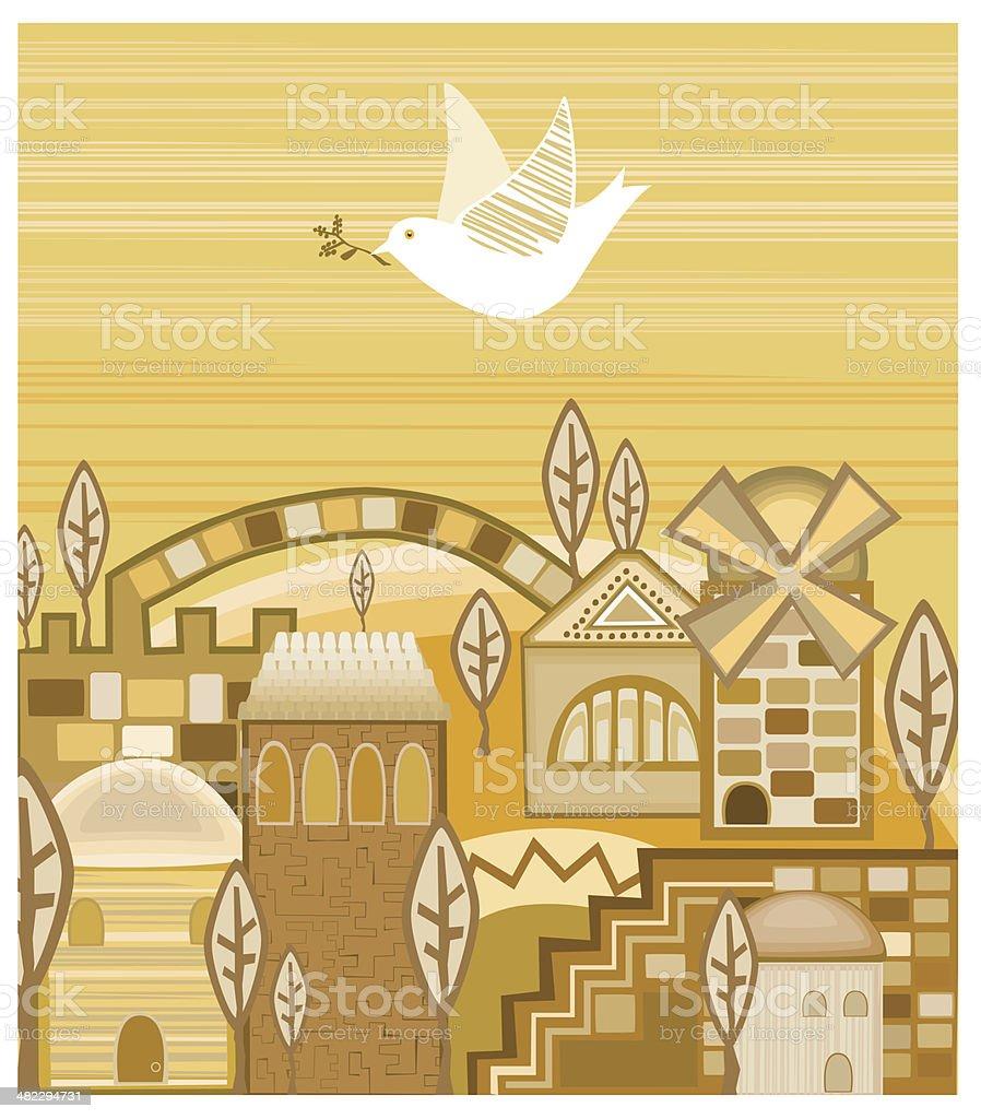 Dove With Olive Branch Flying Above  Jerusalem of Gold vector art illustration