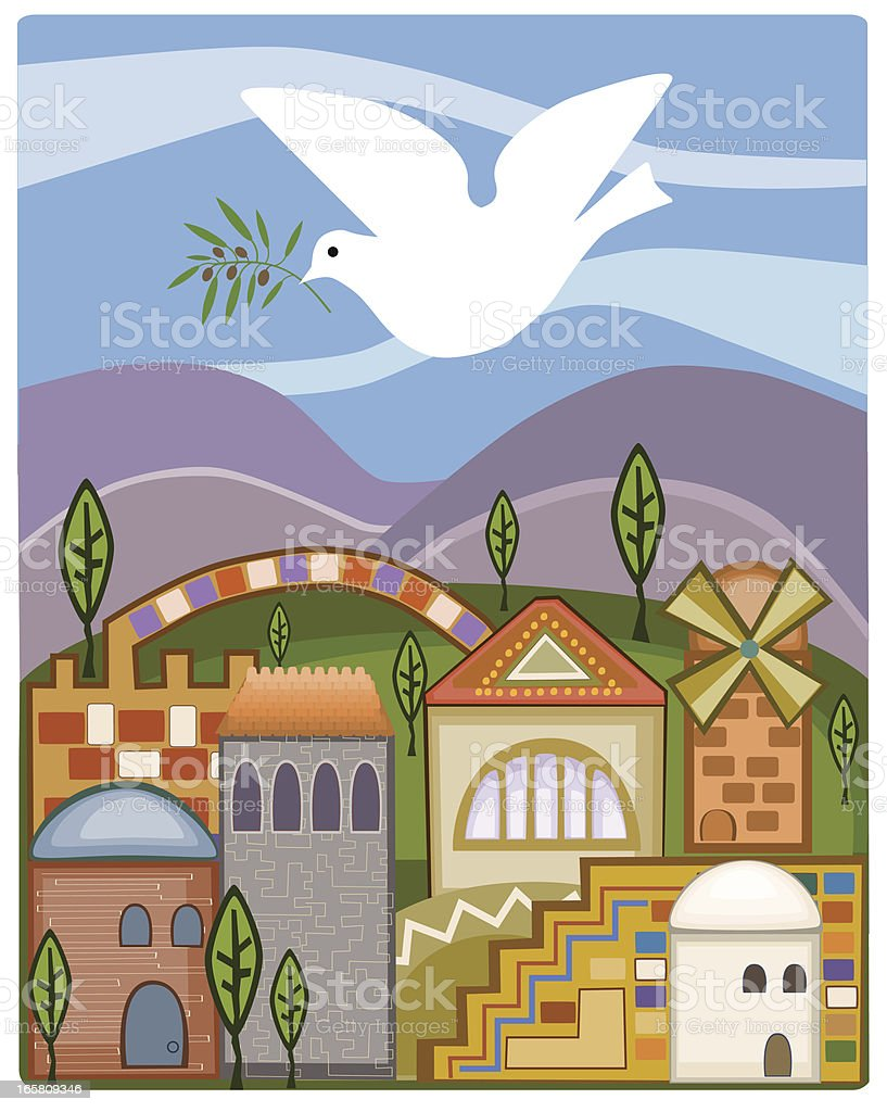 Dove With Olive Branch Flying Above Jerusalem royalty-free stock vector art