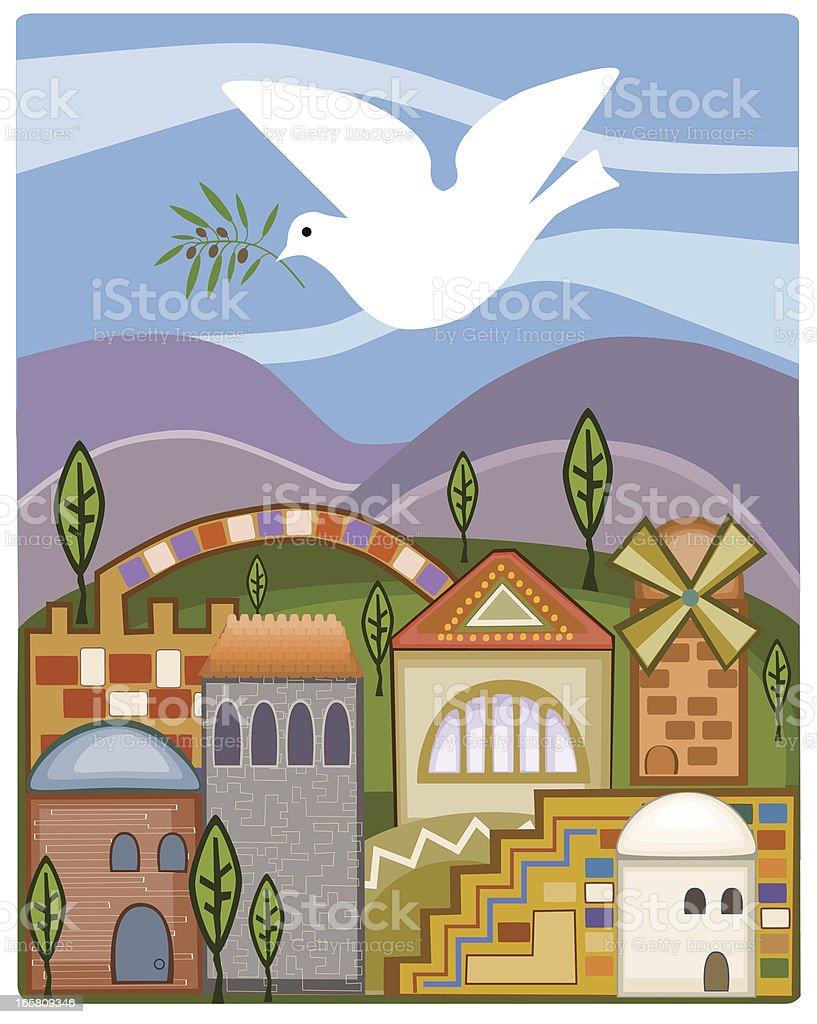 Dove With Olive Branch Flying Above Jerusalem vector art illustration