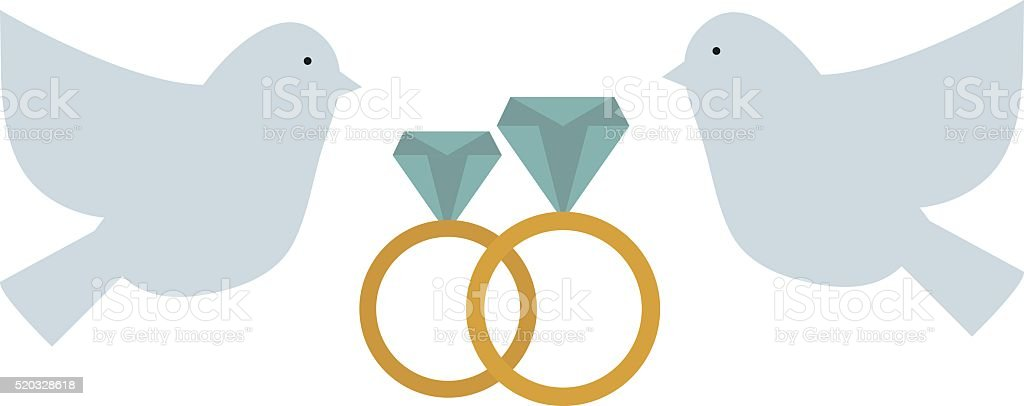 Doves couple with hearts vector icon illustration vector art illustration