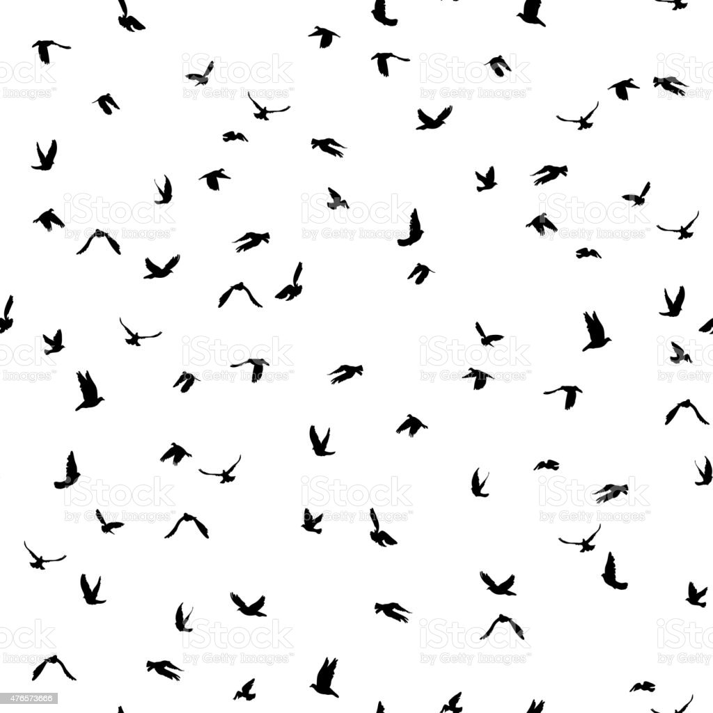 Doves pigeons silhouette seamless pattern white background peace concept vector art illustration