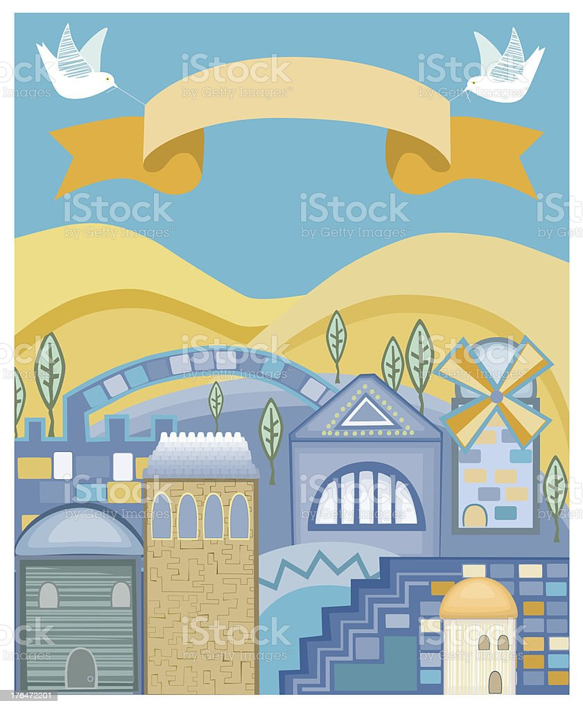 Doves With Banner Flying Above Jerusalem royalty-free stock vector art