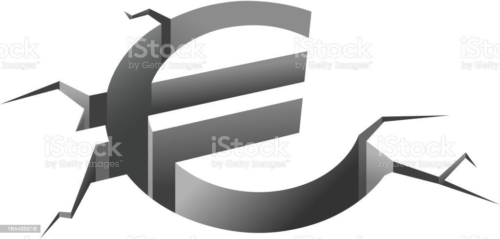 Down euro concept vector art illustration
