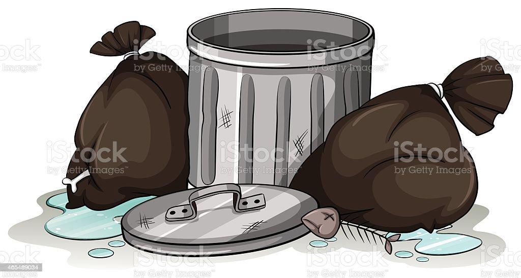 Down in the dump vector art illustration